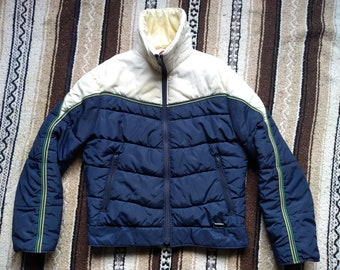 vintage 80s Mountain Goat Ski Jacket Puffy Skier Coat puffer White Stag  Womens S M Skiing 1980s Talon Zipper 70s 1970s made in Taiwan lodge 69052c245