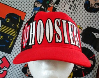 4e6fcff61b6 Indiana Hoosiers Snapback Hat Starter vintage 90 s spell out wrap around  sewn 1990 s Cap red and black 100% Wool IU Bobby Knight college 80s