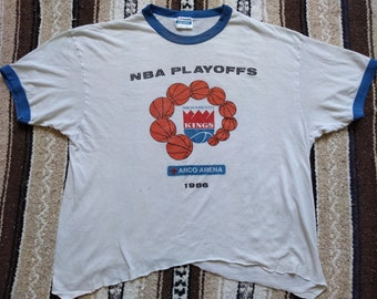 3fa82566 Sacramento Kings vintage T Shirt 1986 Playoffs cutoff ringer tee 80s Hanes  50/50 paper thin NBA Basketball retro cropped RARE sportswear USA