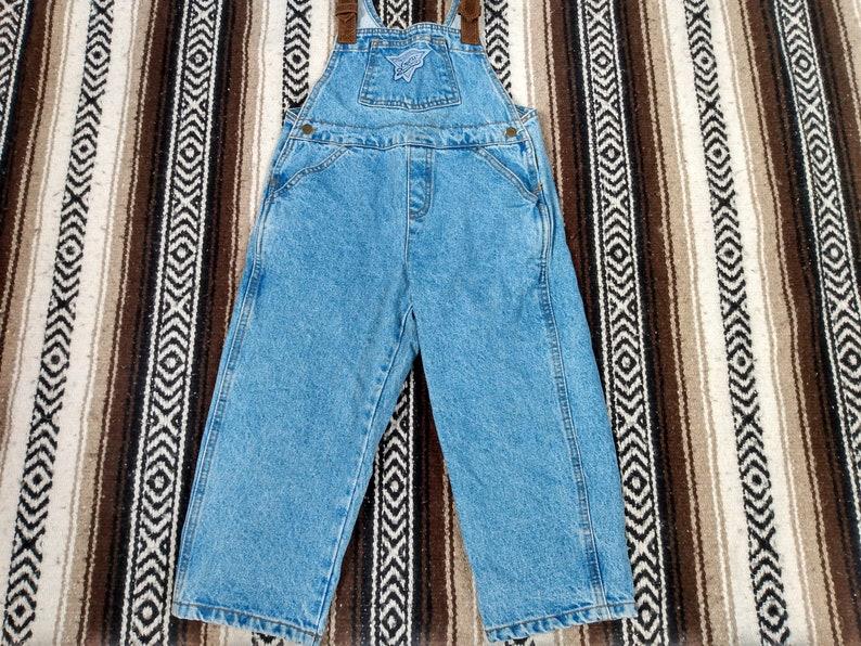 GUESS Jeans Kids Overalls denim blue Jeans 80s 90s Mint condition size 5 Youth pants bottoms leather shoulder straps designer USA Hip Hop ?