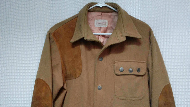 Chasse laine tir veste chemise laine Chasse cuir patches manteau avant de  bouton vintage des années d5572639893