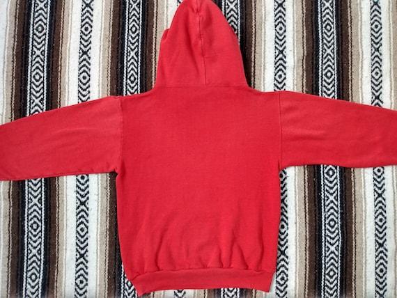 70s Track Hoodie vintage Hooded Sweatshirt Red Ki… - image 8