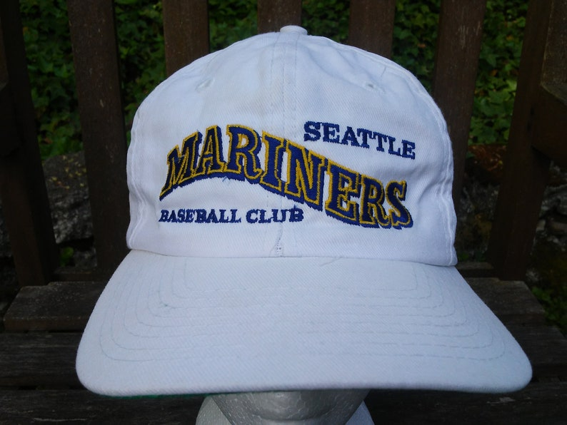 vintage Seattle MARINERS Hat white snapback spell out snap  df7751365055