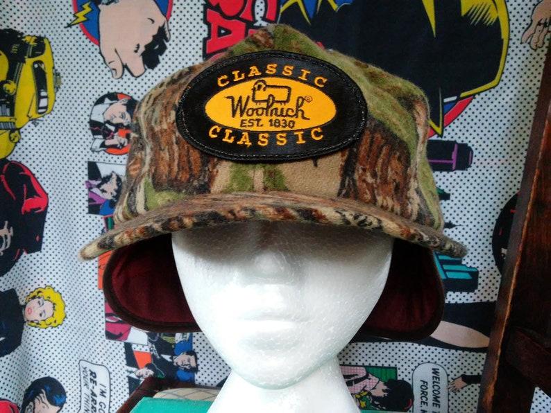 ff3faee4347f5 Vintage Woolrich trapper Hat 70 s 80 s camo Wool ear