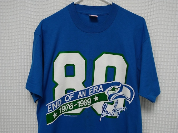 free shipping 091bf 3f3e2 Seattle SEAHAWKS vintage T Shirt Steve Largent retirement single stitch tee  1989 80s NFL Football HOF New Old Stock jersey Kingdome Large