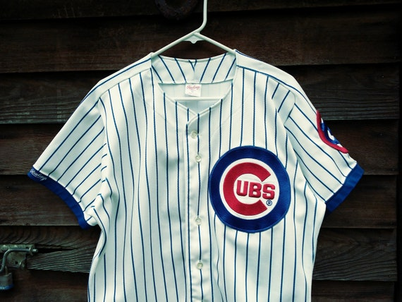 reputable site 435f0 757a7 Chicago CUBS Authentic Jersey size 44 Large sewn Rawlings MLB baseball  vintage made in USA white with blue pinstripes 80s 90s Clean shape !!