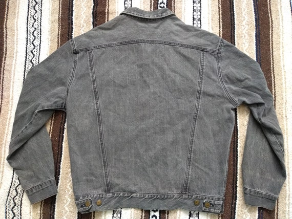 Guess ? Jean Jacket vintage 80s 90s Gray faded Black Mens LXL Georges Marciano Denim Button Up Trucker Coat Hip Hop Fashion made in USA