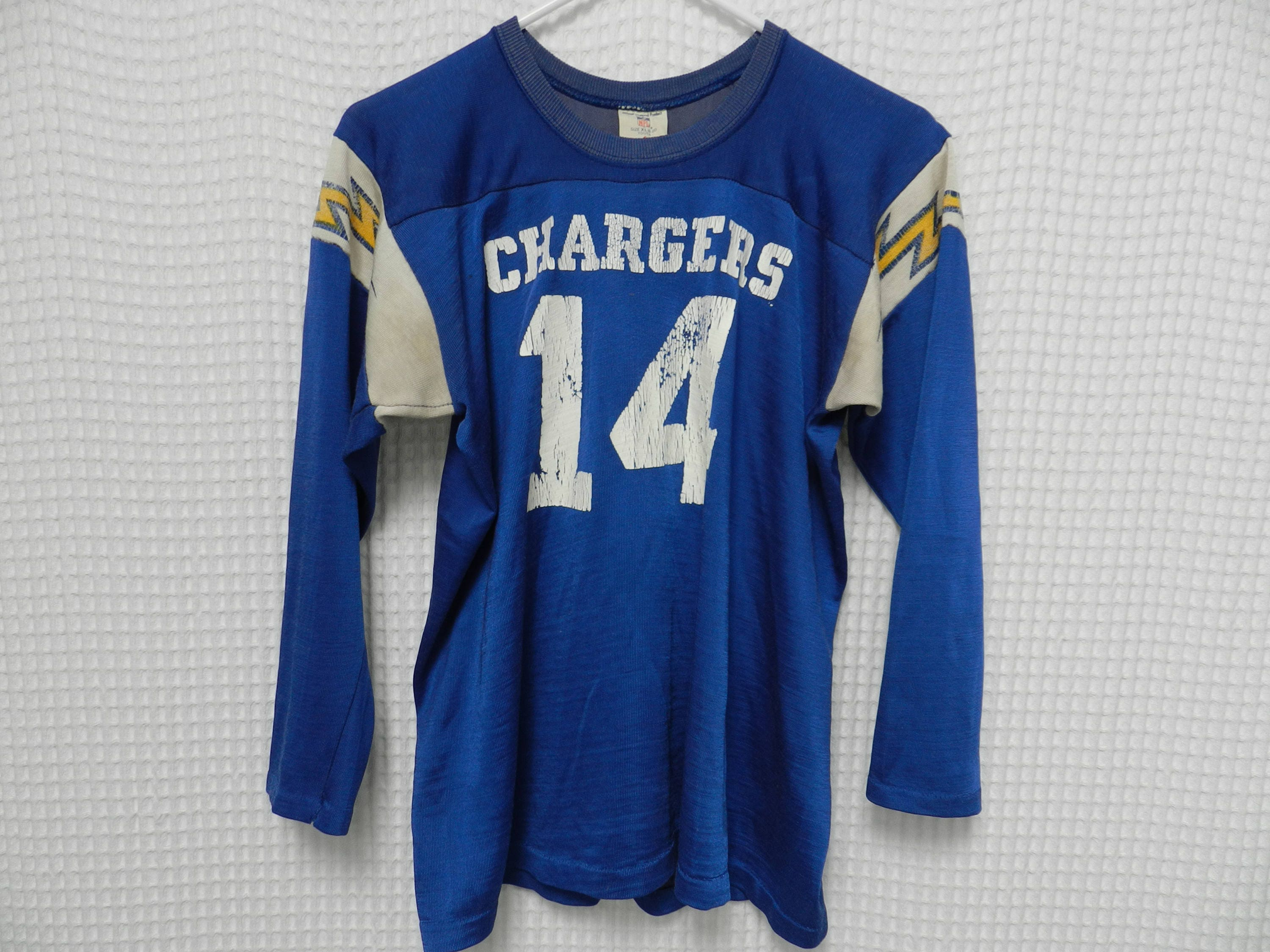 official photos 810d5 9317c vintage Dan Fouts Jersey 70s 80s San Diego Chargers NFL long sleeve  Rawlings USA Youth XL football jersey retro Los Angeles #14 raglan Rare