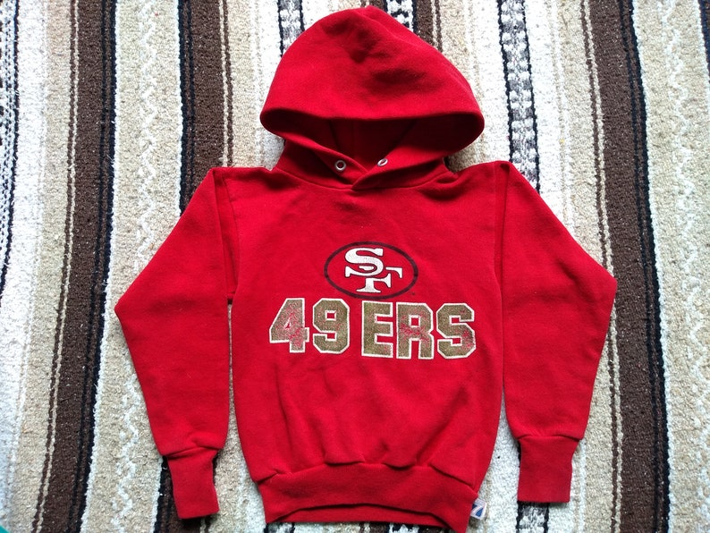 2ccbd3e4 SF 49ers vintage Hoodie Youth S (8) 80s Sweatshirt San Francisco Joe  Montana Jerry Rice Kids hooded Red top Logo 7 pullover Bay Area Niners