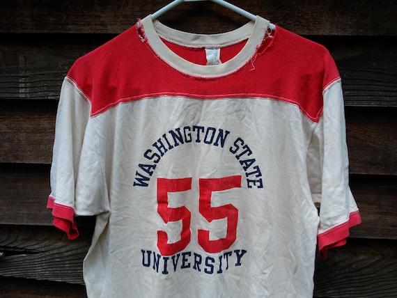 san francisco 8f89b 087a6 vintage 50s 60s WSU Cougars Jersey T Shirt Washington State University  Velva Sheen Sportswear distressed Raglan #55 Varsity ringer tee Large