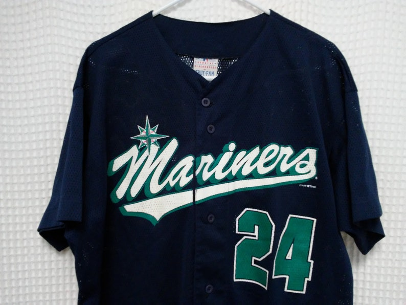 hot sale online 17332 31d1c vintage Ken Griffey Jr Jersey 90s Seattle Mariners button front mesh jersey  M's MLB Baseball tee Griffey Jr Edgar XL Jay Buhner the Big Unit