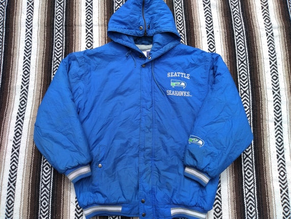 Seattle Seahawks Football Hoodie Zip up Jacket Coat Winter Warm Black and Gray