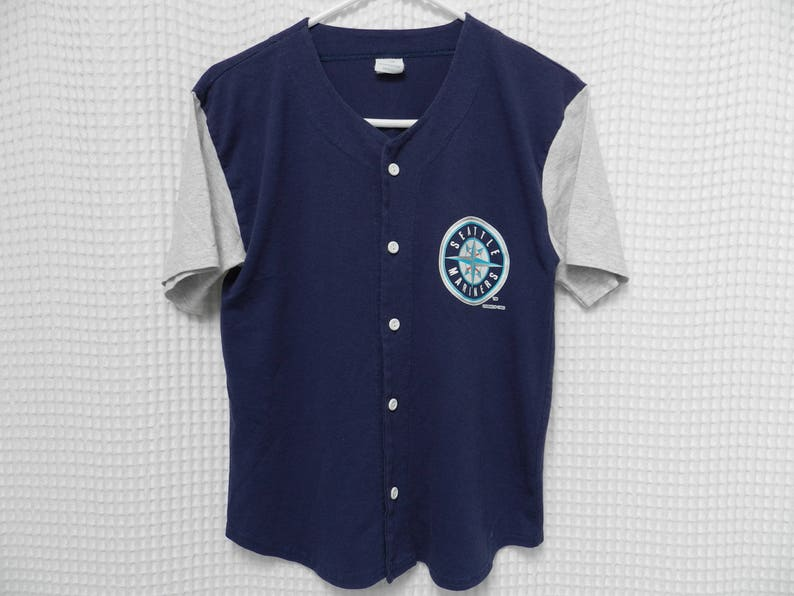 new product de812 6dba4 vintage 90s Seattle Mariners Jersey button front T Shirt M's MLB Baseball  tee Griffey Jr Edgar Youth L adult XS two sided 2 tone Jay Buhner