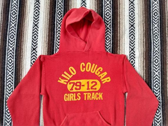 70s Track Hoodie vintage Hooded Sweatshirt Red Ki… - image 2
