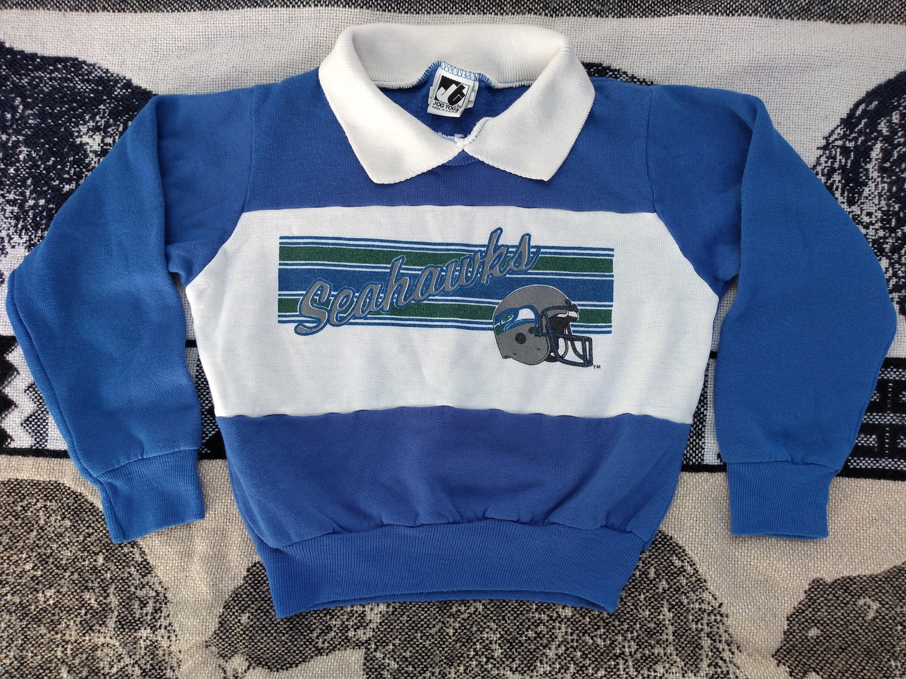 classic fb7a6 38159 Seattle SEAHAWKS Youth Sweatshirt vintage 80s Kids shirt retro Largent sz 5  1980s retro fan Wear Kingdome helmet logo Jog Togs Childrens top