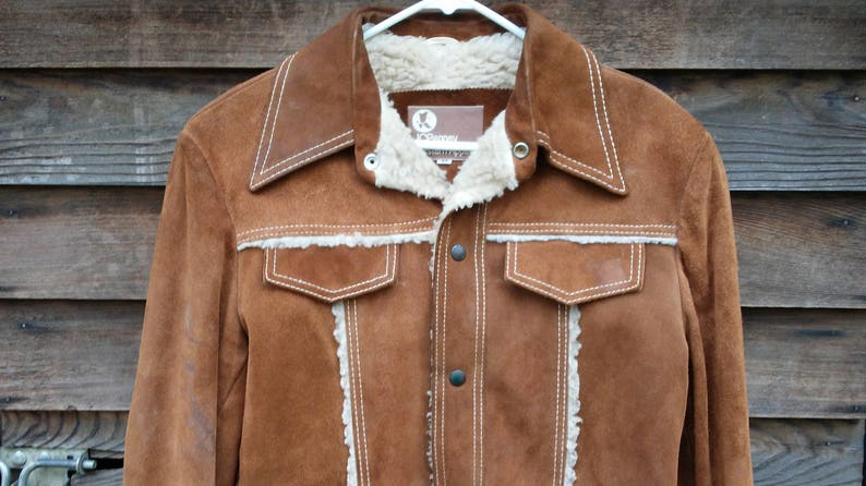778fb1970 Western Boho Leather Jacket vintage Sherpa suede 70's 80's JcPenney apparel  barn Rancher coat size 42 Med lined brown hipster Cowboy hide !!