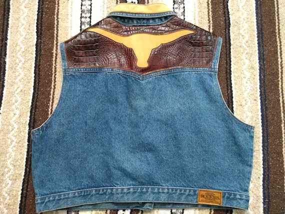 New Rockies Western Denim Jacket Blue Jean Faux Leather Trim Womens Old Stock