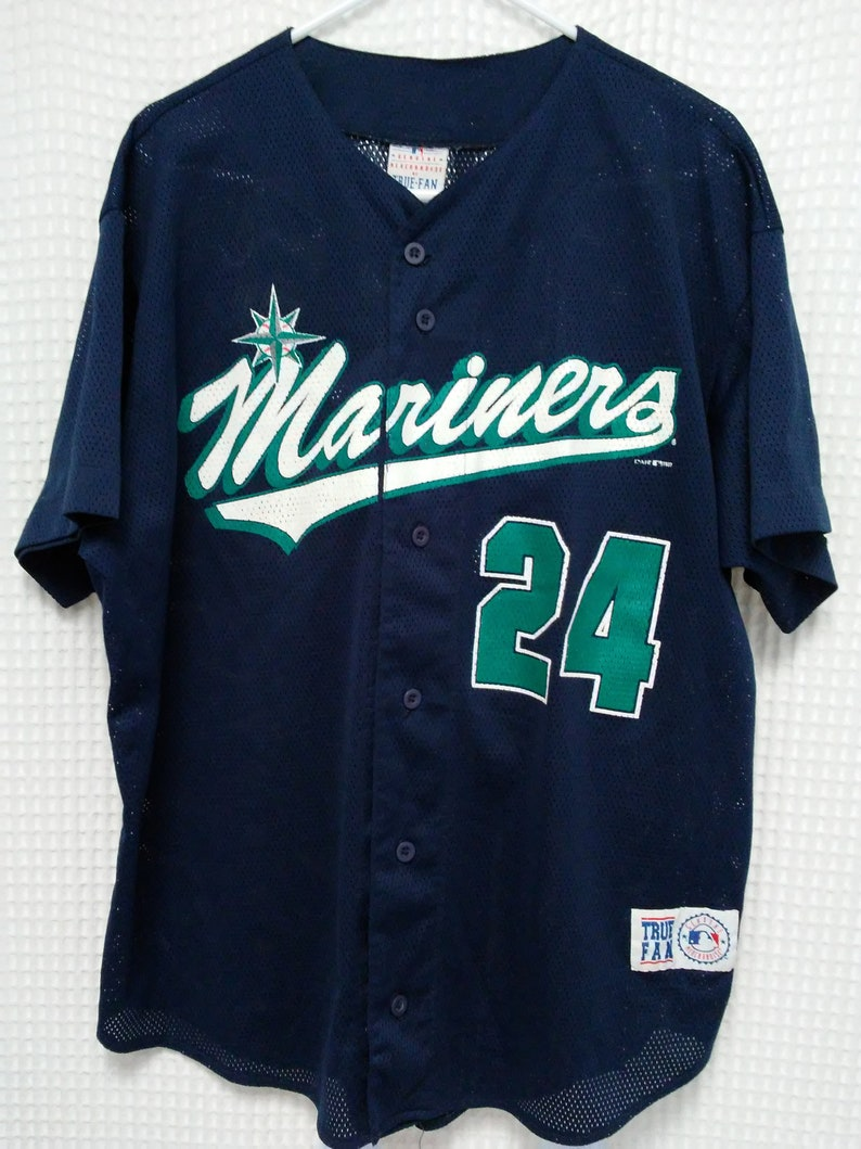 hot sale online 6616f cb812 vintage Ken Griffey Jr Jersey 90s Seattle Mariners button front mesh jersey  M's MLB Baseball tee Griffey Jr Edgar XL Jay Buhner the Big Unit