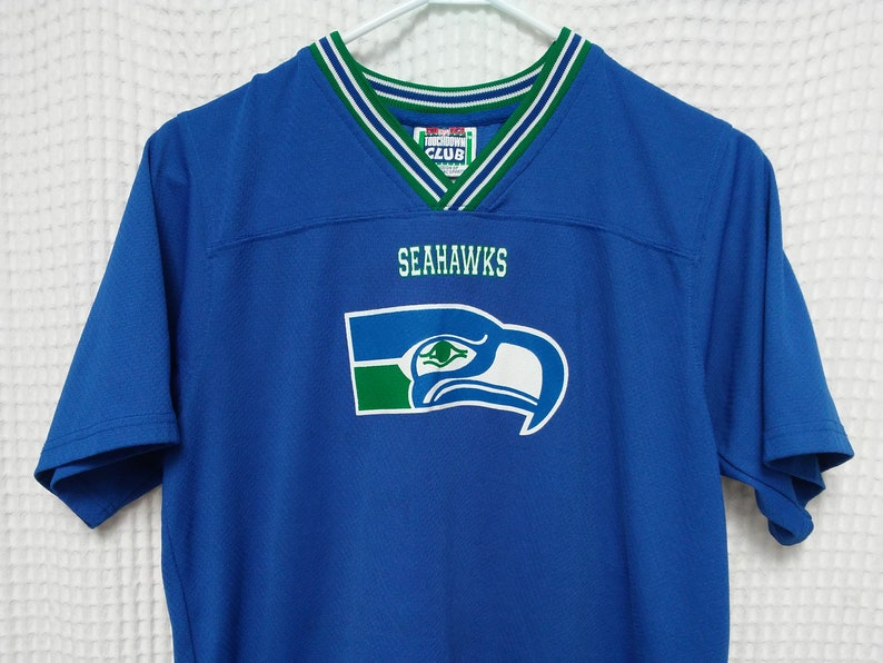 pretty nice 31900 1260b vintage Seattle SEAHAWKS Jersey Shirt Youth Large 80s 90s Touchdown Club  NFL football adult XS/S original vintage 1990s Blue top 12 twelve