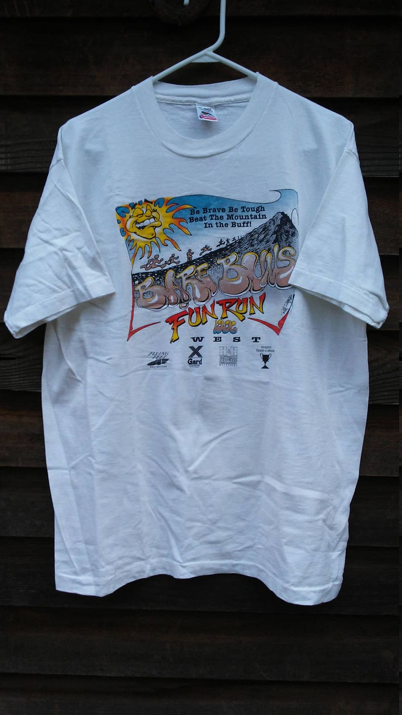 9d633fa5a Vintage 90 's Fun Run T shirt Bare bułeczki nagi Humor   Etsy