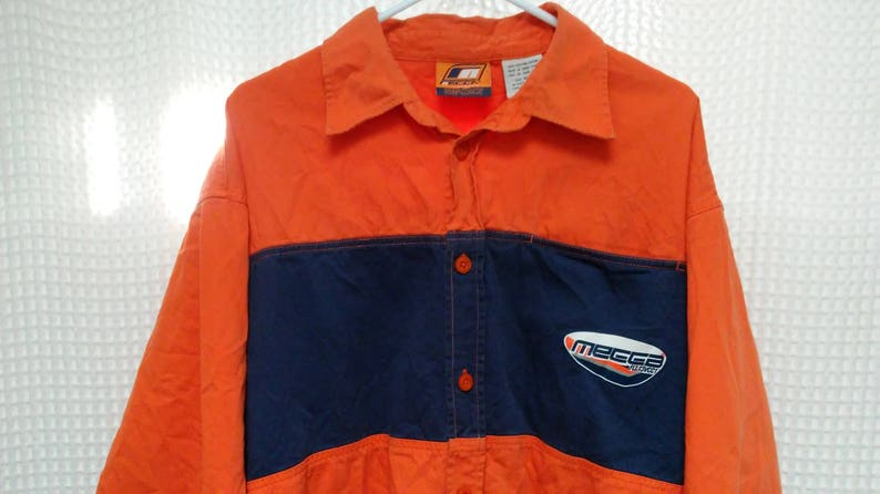 87a4c8d6 vintage MECCA 90's hip hop Shirt button up color block striped Mecca Flight  Street wear orange navy blue XL rap gear NYC urban rare New York