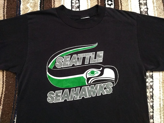 8a2650f5 vintage 80s Seattle Seahawks T Shirt NFL football Black tee Med single  stitch jersey Largent RARE 1980s buttery soft thin Kingdome Hawks USA