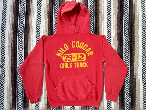 70s Track Hoodie vintage Hooded Sweatshirt Red Ki… - image 1