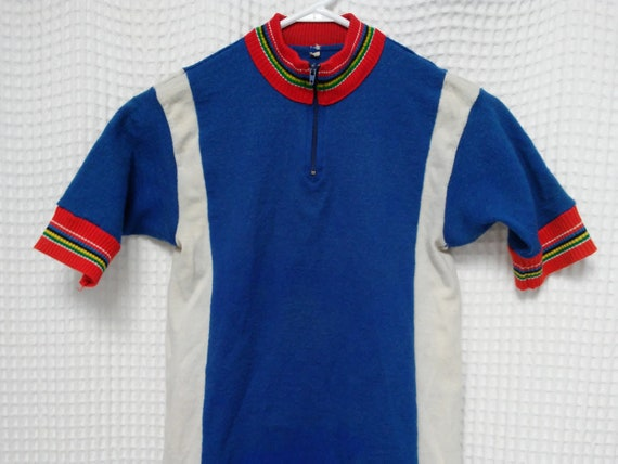 vintage 1960s Cycling Jersey Acrylic 60s bicycle sportswear  9f173f7e4