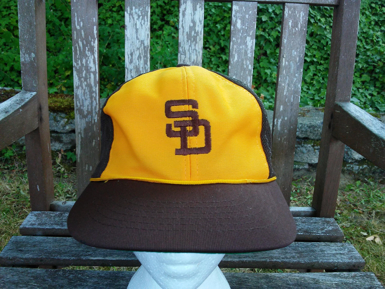 97363374 vintage San Diego Padres mesh Hat snapback MLB baseball SGA trust bank Tony  Gwynn trucker retro sewn cap RARE 70s 80s 1970s brown and yellow