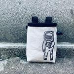 chalk bag, rock climbing chalk bag, chalkbags, chalkbag, rock climbing, astronaut, handcarved, blockprint, rock climbing chalk bag