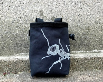 chalk bag, rock climbing chalk bag, chalkbag, climbers, climbing gifts, rock climbers, canvas chalkbag, linoprint, ant, insect,
