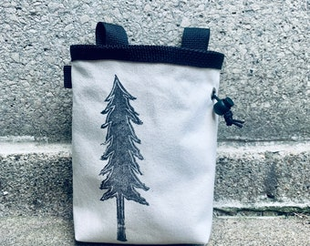 chalk bag, chalkbag, chalkbags, chalk bags, handcarved, blockprinted, rock climbing, chalk bag, tree