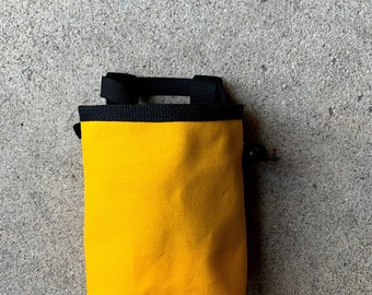canvas chalkbag, chalkbag, chalk bag, blank canvas chalkbag, rock climbing chalk bag --made to order. golden yellow