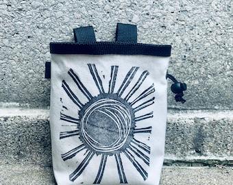chalk bag, rock climbing chalkbag, chalkbags, linoprint, chalkbag, handcarved, blockprint, rock climbing, chalk bag, sun