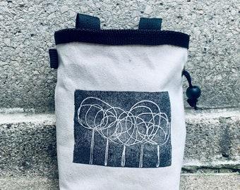 chalkbag, chalk bag, linoprint, handcarved, blockprinted, rock climbing chalk bag, trees,
