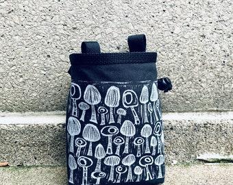chalkbags, chalk bags, chalkbag, chalk bag, linoprint, mushrooms, linocut, blockprint, rockclimbing chalkbag