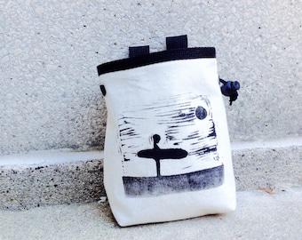 chalk bag, rock climbing chalk bag, chalkbags, chalkbag, rock climbing, surfer, handcarved, blockprint, rock climbing chalk bag
