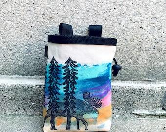 colors vary, chalk bag, rock climbing chalkbag, chalkbags, handpainted, painted, chalkbag, rock climbing, chalk bag, sunset, moose, forest