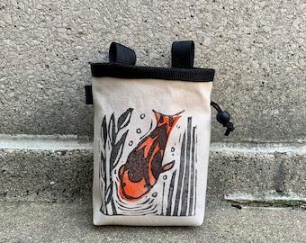 chalk bag, chalkbag, chalkbags, linoprint, koi, nature, fish, blockprinted, rock climbing chalk bag