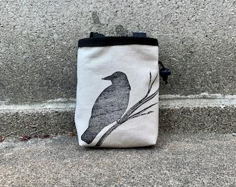 chalk bag, bird chalkbag, parrot chalkbag, blockprint, handprinted, linocut rock climbing chalk bag, crow