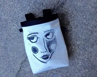chalk bag, rock climbing chalk bag, chalkbags, handcarved, blockprint, rock climbing chalkbag..ready to ship.