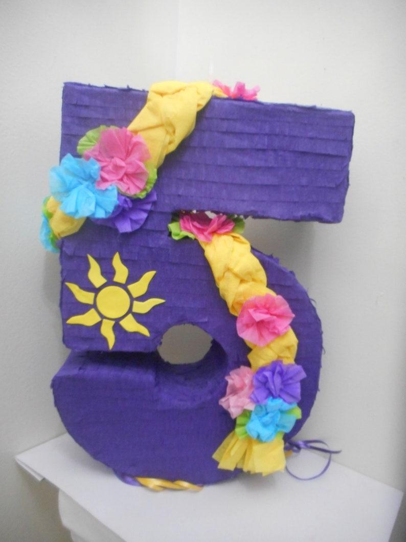 5th Birthday number five year Rapunzel Purple pull string Pinata 17.5  x 12.5  x 4