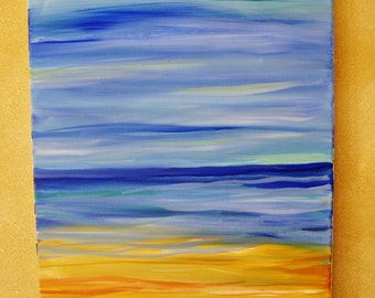 Seascape oil painting, original oil painting on wrapped canvas, ocean landscape, ocean painting
