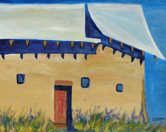 Adobe oil painting, original oil painting, New Mexico adobe architecture painting