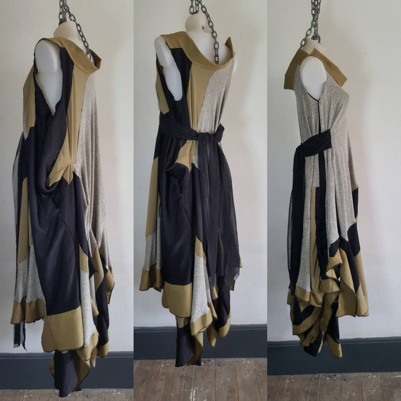 Grecian Boho Style Dress One-of-a-kind abstract art Knitwear Lagenlook Dress Knitted Drape Gown Free SIZE