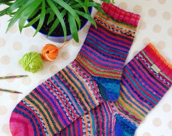 Hand knitted warm and colorful funky socks wool socks with nylon self stripping yarn pink turquoise women size us 8 9 medium