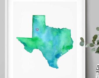 Lubbock Texas Watercolor Map Art Print