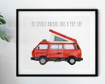 Volkswagen Vanagon Westfalia Watercolor Art | Spirit Animal | Happy Camper