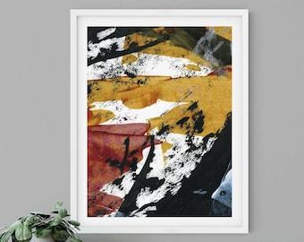 Gold Black Red White Abstract Art Print | Walked on Coal | Hope Springs Eternal Art Series
