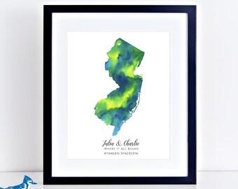 Personalized New Jersey Map Art Print - Custom Map Art - NJ Map